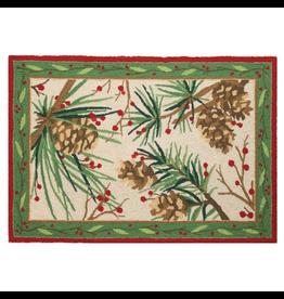 Peking Handicraft Christmas Hook Rug Berries and Pine 27x40
