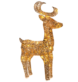 Darice Light Up Gold Glittered Wire Reindeer 2FT 40L WW LED