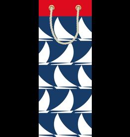 Caspari Wine Bottle Gift Bag Sail Away 5x3.5x13