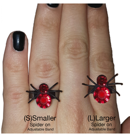 Twos Company Halloween Black Widow Bling Spider Ring .75 inch 0300-L-Red