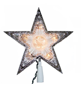Kurt Adler Star Chirstmas Tree Topper 11 Inch Lighted Clear Double Sided