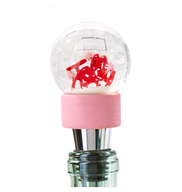 Twos Company Holiday Cheer Bottle Stopper Snow Snowglobe JOLLY 80433-20-A