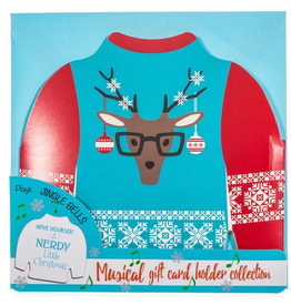 DM Merchandising Ugly Sweater Musical Christmas Card Gift Card Holder- Deer