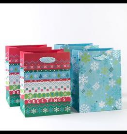 PAPYRUS® Christmas Gift Bags 4pk Retro Snowflake Duo 8x6x4