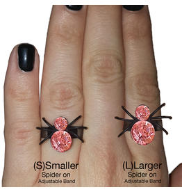 Twos Company Halloween Black Widow Bling Spider Ring .75 inch 0300-L-Pink