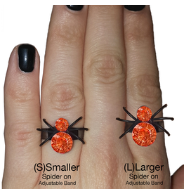 Twos Company Halloween Black Widow Bling Spider Ring .75 inch 0300-L-Orange