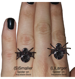 Twos Company Halloween Black Widow Bling Spider Ring .75 inch 0300-L-Black