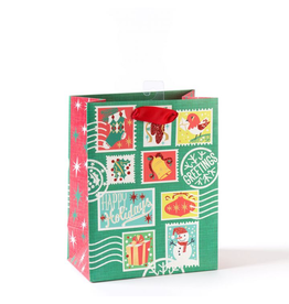 PAPYRUS® Christmas Gift Bag Medium 7x9x4 Holiday Retro Stamps