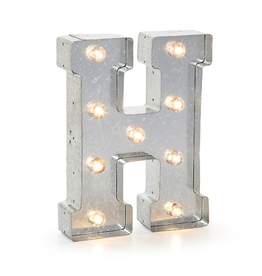 Darice LED Light Up Marquee Letter H 5915-709 Galvanized Silver Metal