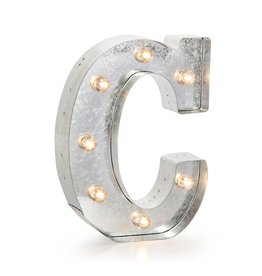 Darice LED Light Up Marquee Letter C 5915-704 Galvanized Silver Metal