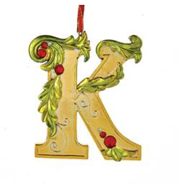 Kurt Adler Gold Initial Ornament With Holly Accents 3.5 Inch Letter K