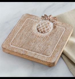 Mud Pie Wood Pineapple Trivet 8x7 Inch