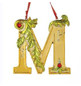 Kurt Adler Gold Initial Ornament With Holly Accents 3.5 Inch Letter M