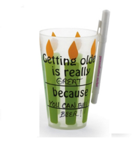 Mud Pie Over the Hill 119041-A Birthday Cup w Fill in The Blanks Set of 8