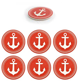 Ceramic Coasters Set of 6 Anchors Red and White