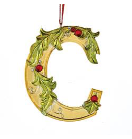 Kurt Adler Gold Initial Ornament With Holly Accents 3.5 Inch Letter C