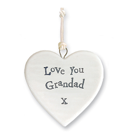East of India Porcelain Heart Ornament 4176 Love You Grandad X