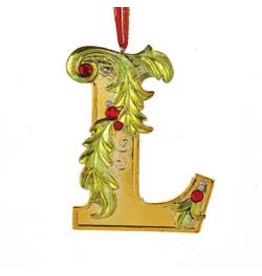Kurt Adler Gold Initial Ornament With Holly Accents 3.5 Inch Letter L