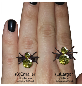 Twos Company Halloween Black Widow Bling Spider Ring .75 inch 0300-L-Green