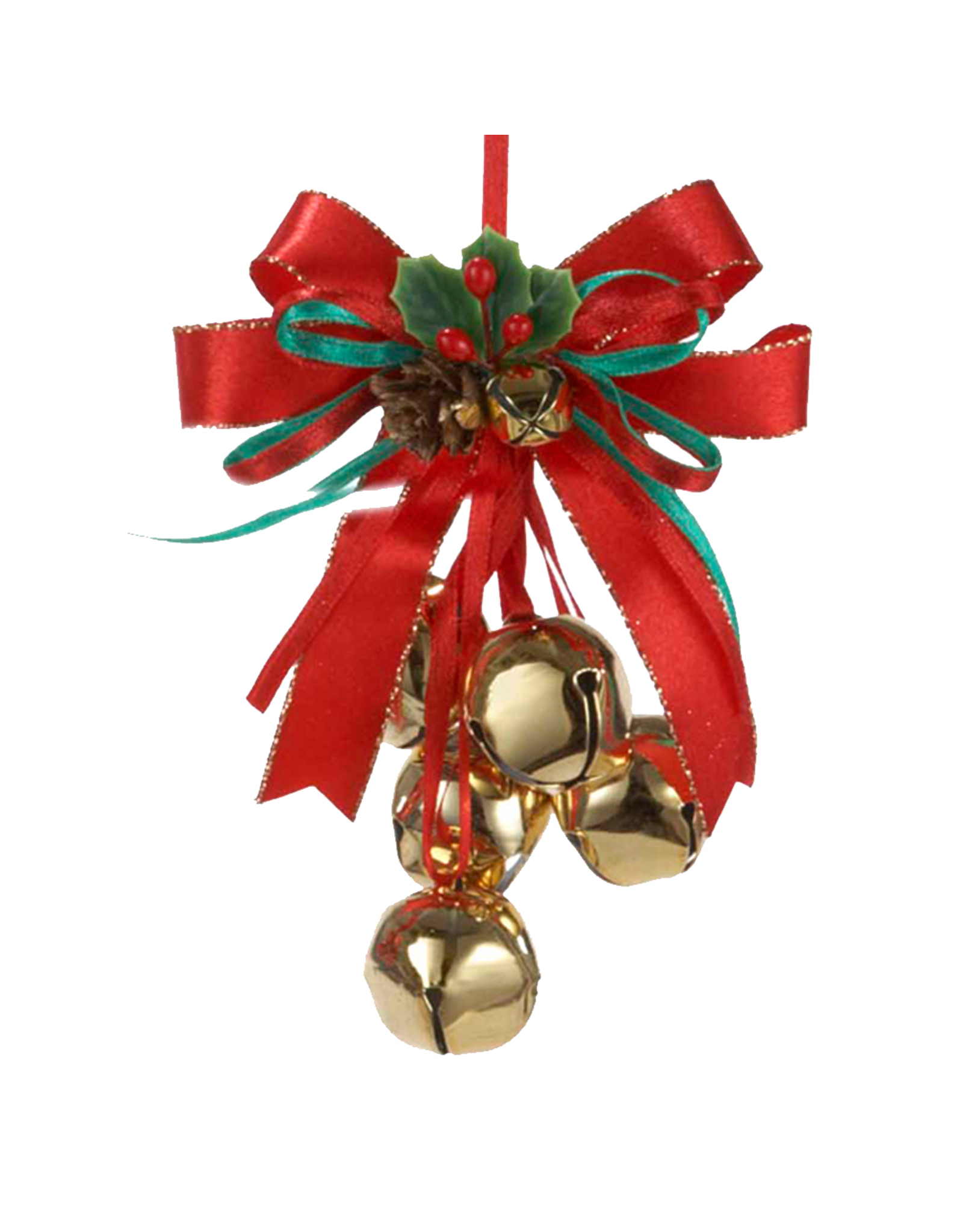Kurt Adler Red Ribbon Bow w Gold Bells Christmas Ornament - Digs N Gifts