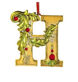 Kurt Adler Gold Initial Ornament With Holly Accents 3.5 Inch Letter H