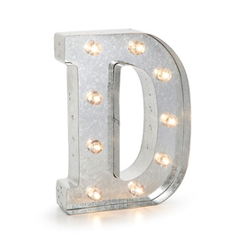 Darice LED Light Up Marquee Letter D Galvanized Silver Metal