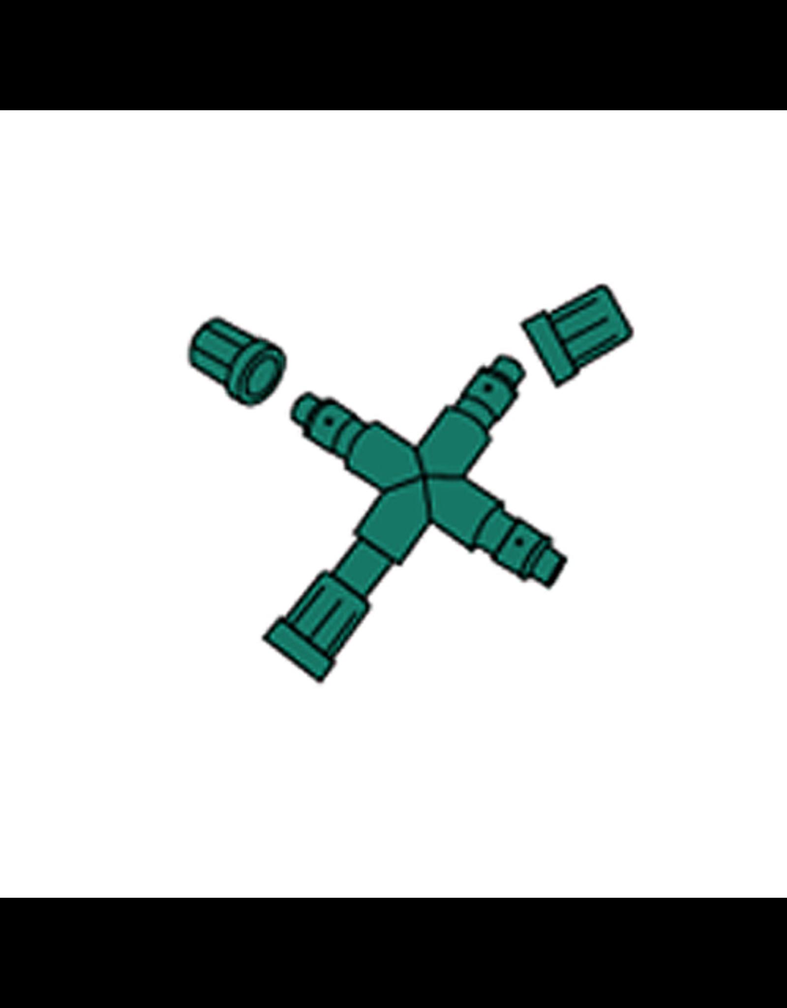 3 Channel Plus 1 Pass Through 3-Way Splitter Green