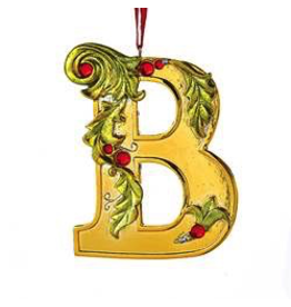 Kurt Adler Gold Initial Ornament With Holly Accents 3.5 Inch Letter B