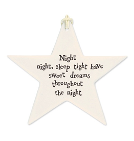 East of India Porcelain Star Ornament 4044 Night Night Sleep Tight Sweet Dreams