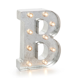 Darice LED Light Up Marquee Letter B 5915-703 Galvanized Silver Metal