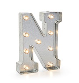 Darice LED Light Up Marquee Letter N 5915-715 Galvanized Silver Metal