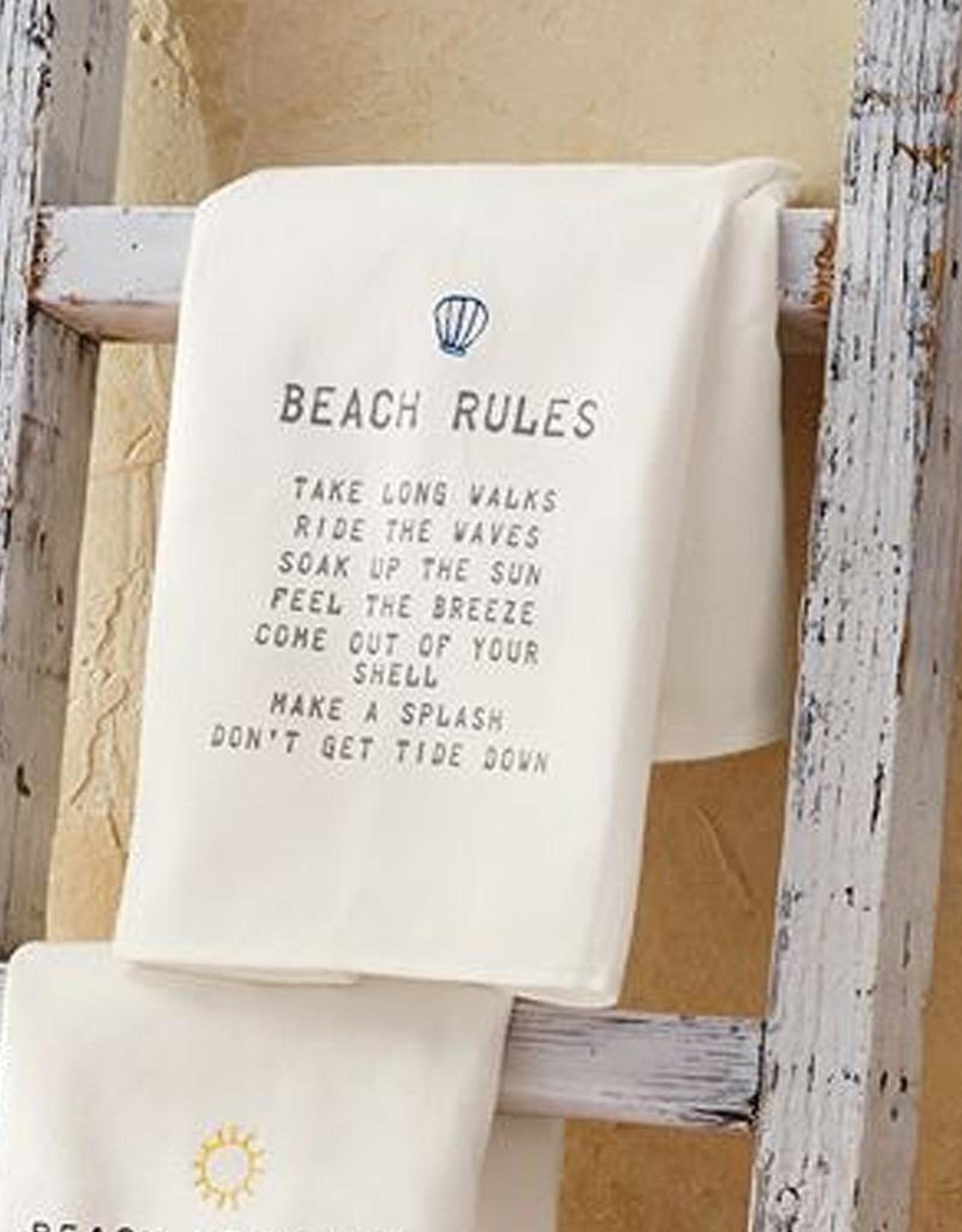 Mud Pie Beach House Hand Towel With Beach Rules 26x16.5