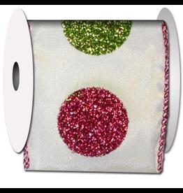 Ribbons Trims 90278W-030 Coin Dot Glitter-White Ribbon
