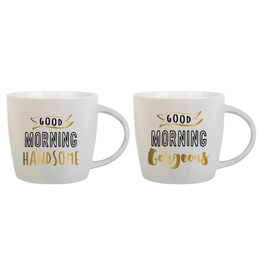 Slant Ceramic Mugs Set of 2 Good Morning Handsome Gorgeous