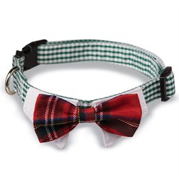 Mud Pie Plaid Tie Dog Collars-Bow Tie-Sm-Md Adjustable Snap Buckle