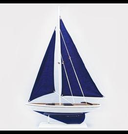 Zodax Wooden Model Sailboat Milos w Navy Sails Table Piece