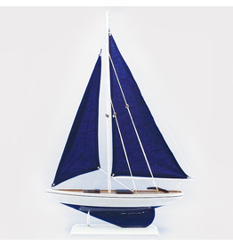 Zodax Wooden Model Saliboat Milos w Navy Sails Table Piece by Zodax Home Art