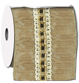 Ribbon Royal Trim Taj Gold Ribbon w Square Beads