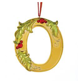 Kurt Adler Gold Initial Ornament With Holly Accents 3.5 Inch Letter O