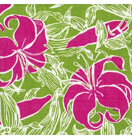 Caspari Paper Napkins Jamaica Inn - Green w Pink Cocktail Napkins