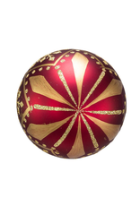 Kurt Adler Burgundy And Gold Patterned Glass Ball Ornaments Set of 6