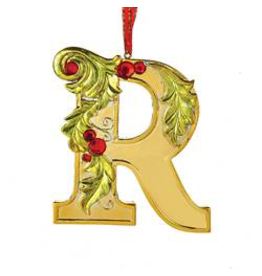 Kurt Adler Gold Initial Ornament With Holly Accents 3.5 Inch Letter R