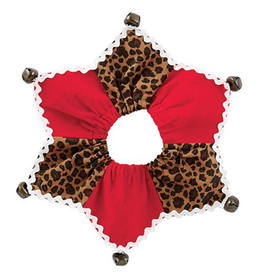 Mud Pie Jester Jingle Dog Collars-Leopard-Elastic Over Head Sm-Md 11 Inch Neck