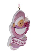Kurt Adler Babys 1st Christmas Ornament for Baby Girl Pink