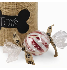 Mud Pie Pet Toys Peppermint Stripe Tennis Ball Cello Gift Wrap Paw Print Bow