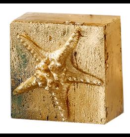 Gold Wall Art Block w Shell Relief Starfish