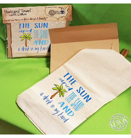 Postcard Towel Mailable Tea Towel with Sun Sand Drink In My Hand