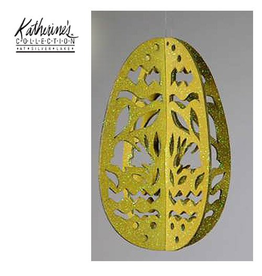 Katherine's Collection Easter Egg Ornament Glittered Laser Cut Yellow