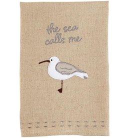 Mud Pie Shore Bird Hand Towel W The Sea Calls Me 21x14 Inch