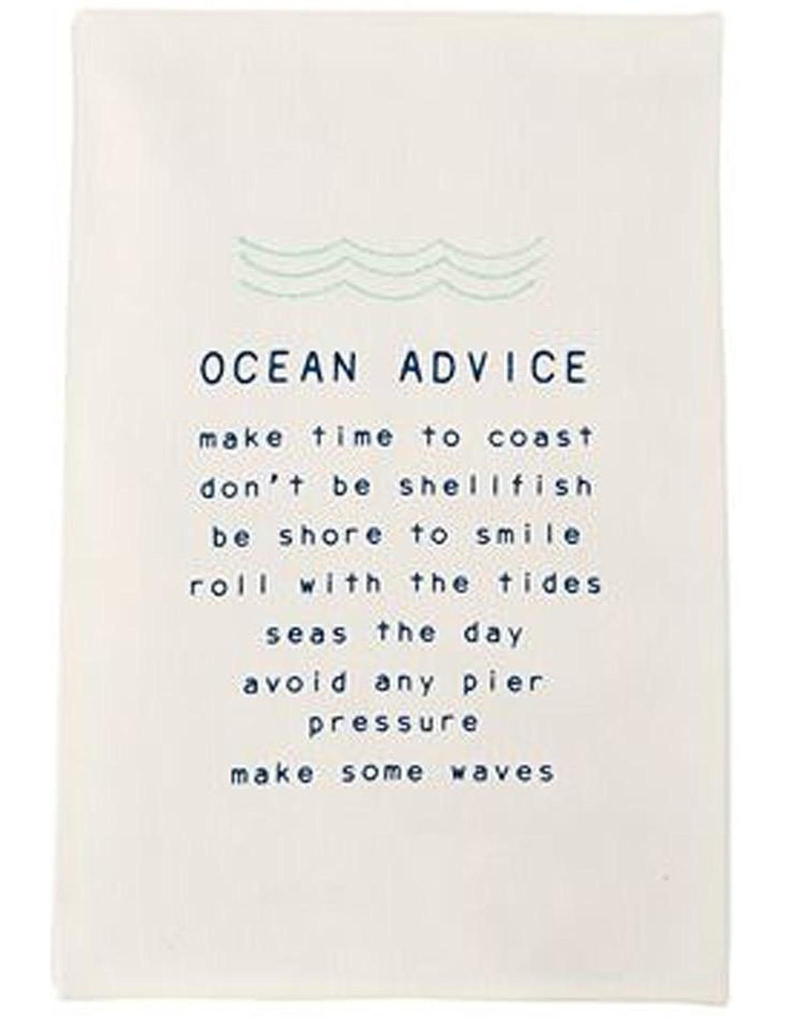 Mud Pie Beach House Hand Towel With Ocean Advice 26x16.5